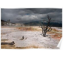 Stormy Skies Over Mammoth Hot Springs Poster