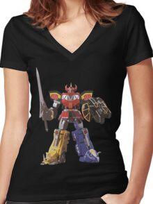 Mighty Morphin Power Rangers Megazord Women's Fitted V-Neck T-Shirt