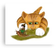 Sprite rides a Snail Past Kitty Canvas Print
