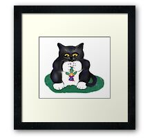 Tuxedo Kitten Captured a Flower Fairy Framed Print