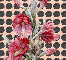 Watercolor Floral Cactus on Black Coral Polka Dots by Blkstrawberry
