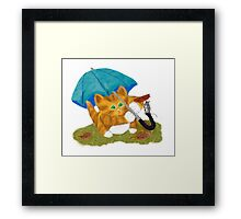 Umbrellas for Mouse and Kitty Framed Print