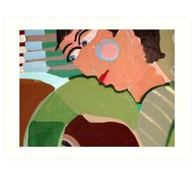 Green guitar player For sale 250.00 Euros Art Print