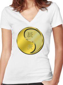 Dragon Yang Metal Women's Fitted V-Neck T-Shirt