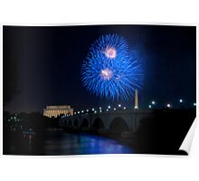 Fireworks over the Lincoln Memorial, Blue Poster