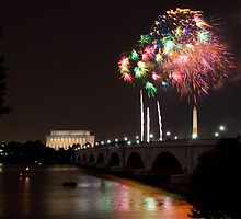 Fireworks over the Lincoln Memorial, Multicolored by Paul Bohman