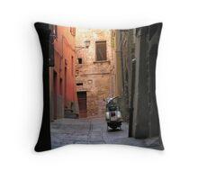 Medieval alley & 21st century scooter, Centro Storico, Perugia, Italy Throw Pillow