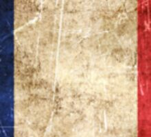 Vintage Aged and Scratched French Flag Sticker