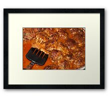 Italian Meatballs just out of oven Framed Print