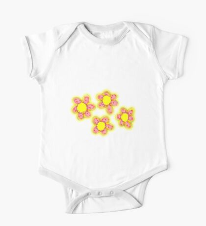 Red & Yellow Flowers One Piece - Short Sleeve