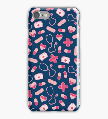 Pink and Blue Nurse Pattern iPhone Case/Skin