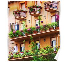 Rococo style Italian balconies overflowing flowers Poster