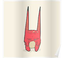 Vector illustration of little pink monster with long ears, fangs and a light belly. Poster