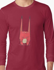Vector illustration of little pink monster with long ears, fangs and a light belly. Long Sleeve T-Shirt