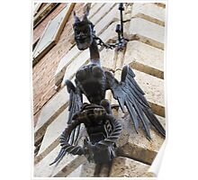Medieval winged devilsh creature - Siena, Italy Poster