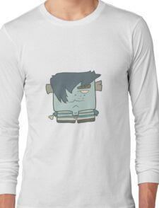 Illustration hand drawn cartoon boy zombie in a striped vest Long Sleeve T-Shirt