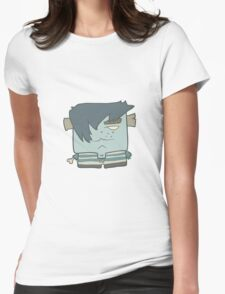 Illustration hand drawn cartoon boy zombie in a striped vest Womens Fitted T-Shirt