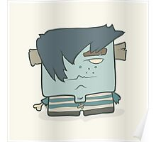 Illustration hand drawn cartoon boy zombie in a striped vest Poster