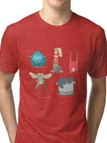 Vector set of illustrations cartoon cute monsters or aliens with claws and fangs Tri-blend T-Shirt