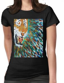 Snarling Angry Tiger Womens Fitted T-Shirt