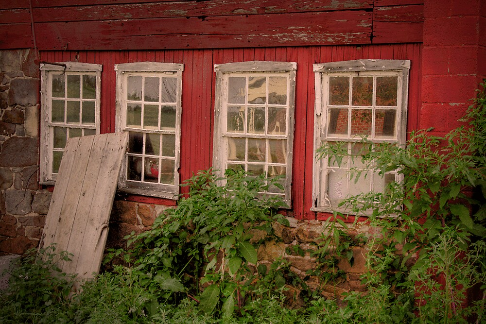 OLD DOOR AND FOUR WINDOWS by Diane Peresie