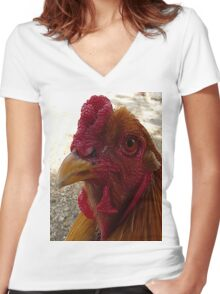 Rooster Women's Fitted V-Neck T-Shirt