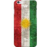 Vintage Aged and Scratched Kurdish Flag iPhone Case/Skin