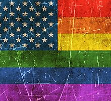 Vintage Aged and Scratched Gay Pride Rainbow American Flag by Jeff Bartels