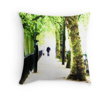 West End Dog-Walker Throw Pillow