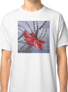 Hibiscus flower in razor wire Classic T-Shirt