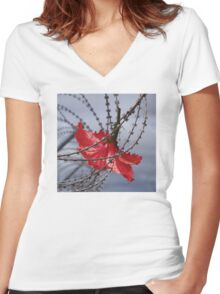 Hibiscus flower in razor wire Women's Fitted V-Neck T-Shirt
