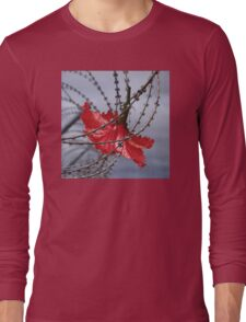 Hibiscus flower in razor wire Long Sleeve T-Shirt