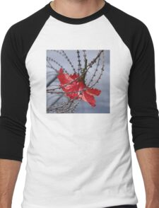 Hibiscus flower in razor wire Men's Baseball ¾ T-Shirt