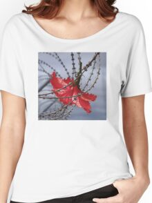 Hibiscus flower in razor wire Women's Relaxed Fit T-Shirt