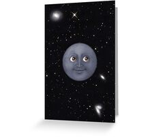 Moon Emoji in Space Greeting Card