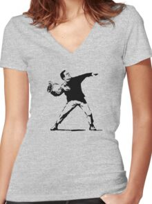Shoe Thrower Women's Fitted V-Neck T-Shirt