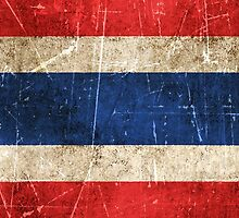 Vintage Aged and Scratched Thai Flag by Jeff Bartels