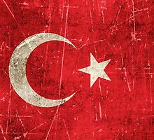 Vintage Aged and Scratched Turkish Flag by Jeff Bartels