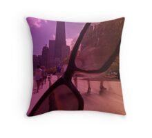 Chicago Bike path and sunglasses Throw Pillow