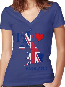 i love england Women's Fitted V-Neck T-Shirt