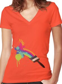 paint a rainbow Women's Fitted V-Neck T-Shirt