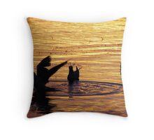 Bathing Sunset Gulls Throw Pillow