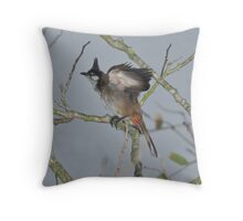 Fledgeling Red-Whiskered Bulbul Throw Pillow