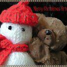 yohoo Knitted Snow...man & Teddy Bear Christmas greeting by patjila