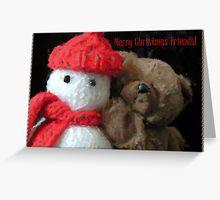 yohoo Knitted Snow...man & Teddy Bear Christmas greeting Greeting Card