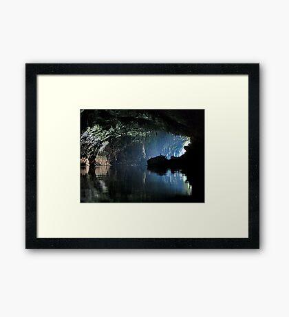 Gigantic Lao cave; where's Dave? Framed Print