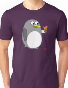 Penguin realizes the effects of global warming Unisex T-Shirt