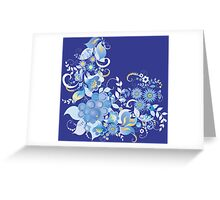 Blue flower and berries Greeting Card