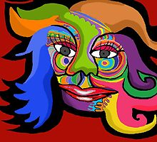 Brightly coloured face by Misolde