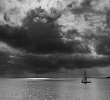 Sailing, stormy waters by Kasia-D